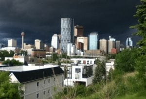 Downtown Calgary skyline view from Bridgeland Infill Community, NE Calgary