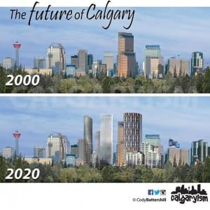 history of calgary infographic downtown skyline 2000 to 2020